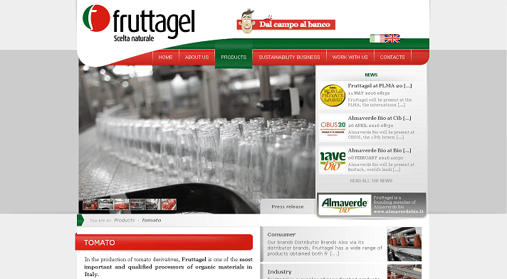 Picture to Italian food exporter company named Fruttagel