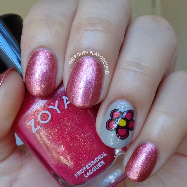 Metallic Rose with Floral Decal Accent Nail Art