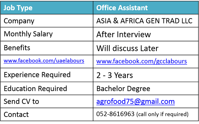 Office Assistant Job in Dubai, Office assistant vacancies in Dubai, Dubai Jobs