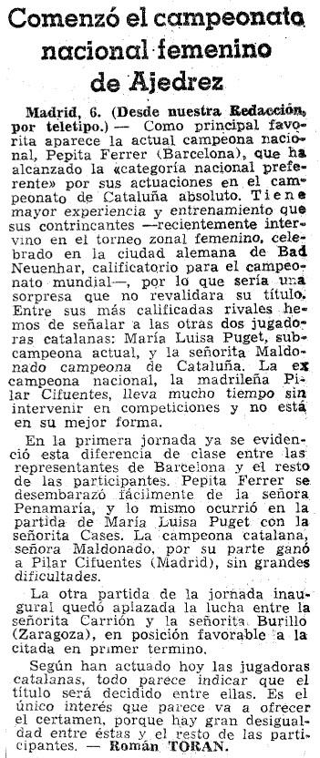 VIII Campeonato Femenino de Ajedrez de España, recorte de La Vanguardia, 1/3/1964
