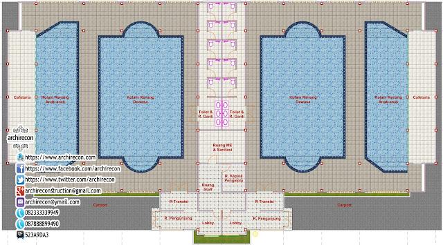 Desain Gedung Kolam Renang - Denah