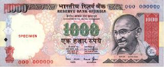 Billete de 1000 Rupias Indias
