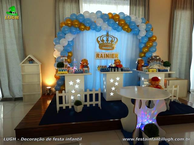 Decoração tema masculino para festa de 1 ano - Festa infantil Ursinho Rei