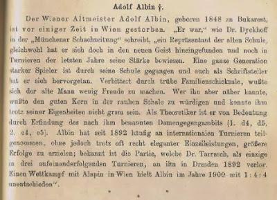 Obituario de Adolf Albin en Deutsche Schachzeitung