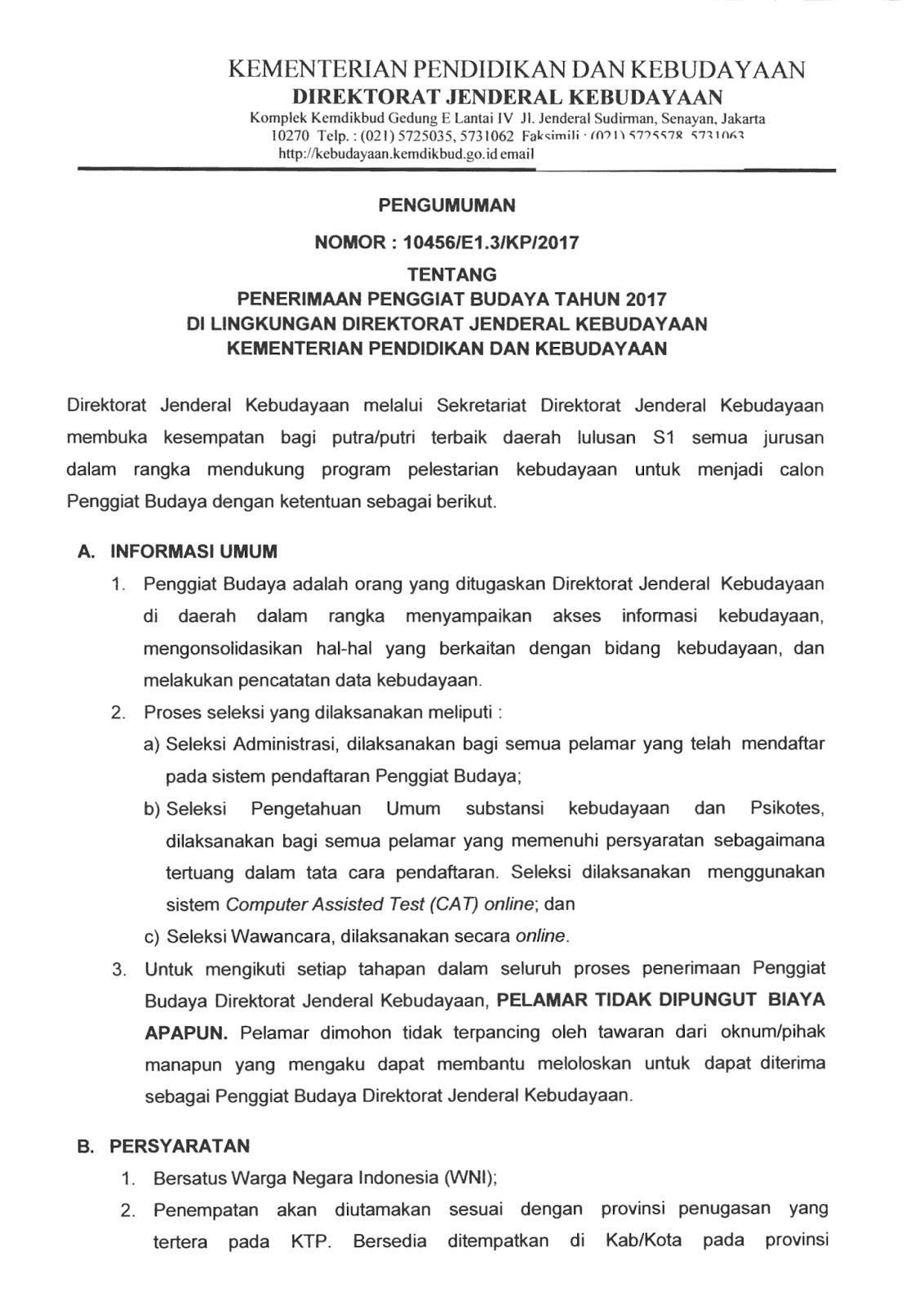 Lowongan Kerja   Non CPNS Terbaru Direktorat Jenderal Kebudayaan Kemendikbud  Oktober 2018