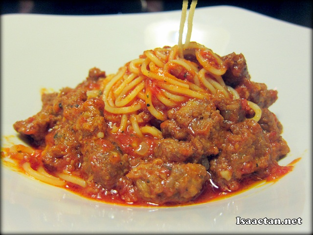 Spaghetti Bolognaise with Beef Bacon (spicy) - RM25