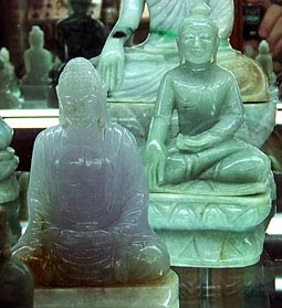 jade Buddha sculptures with different colors