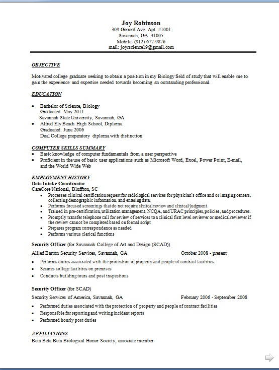 security officer resume sles in word format free