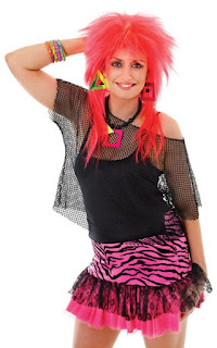 80s punk girl wearing black fishnet top