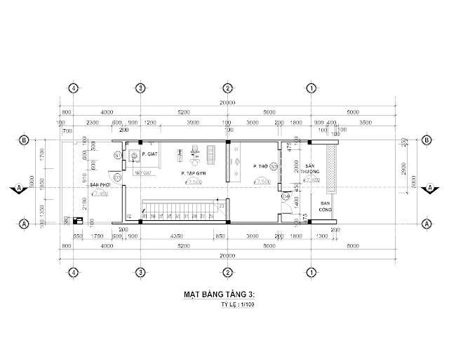 Bố trí mặt bằng tầng sân thượng nhà phố 5x 20 mét