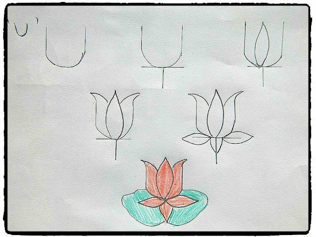 Learn to draw from alphabet : lotus