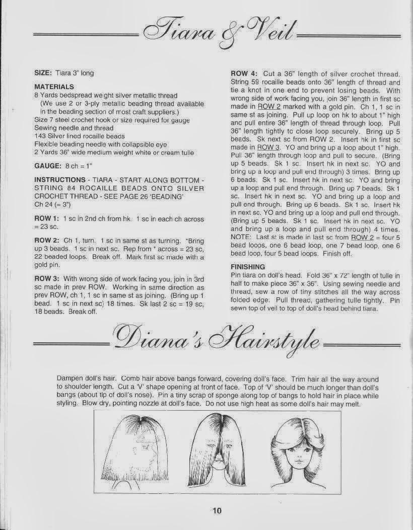 Barbie com vestido noiva de crochê da lady Diana receita crochet colllector