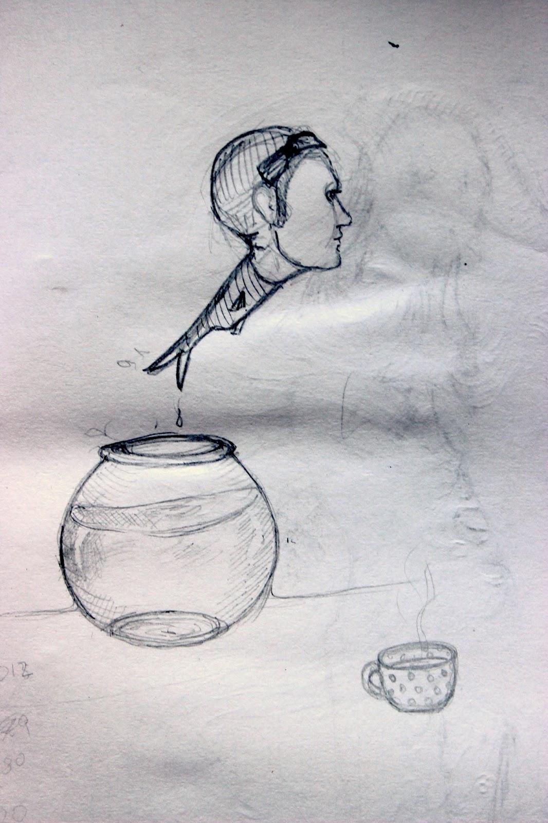 Sketchpad Notebook Sketch Drawing Pencil Pen Fishbowl Fish Man Head