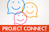 Poster for Project Connect.  Call out boxes with smiley faces