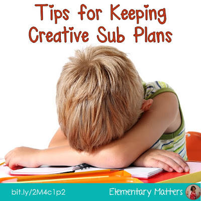 Tips for Keeping Creative Sub Plans: Feeling sick? Taking the time to prepare sub plans ahead of time makes life a little easier. This post has several ideas, including several freebies you can print and put into your own Sub Tub.