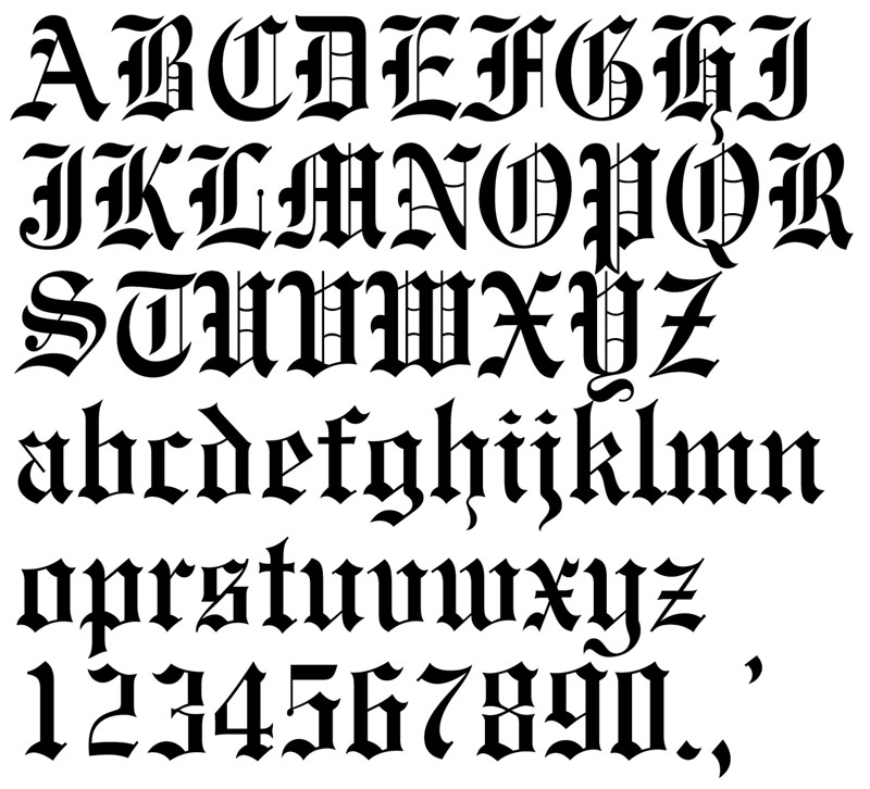 old english lettering amet liwat font 445