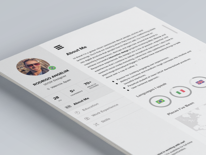 Professional Resume PSD Template Design