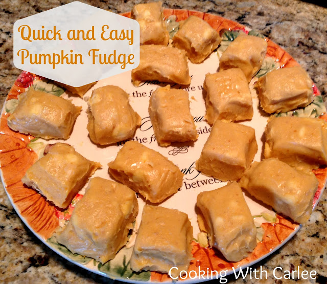 With just 4 ingredients and a couple of minutes you can have this perfectly fall fudge.  Great for Thanksgiving, fall movie night or just because!