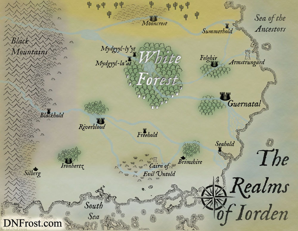 The Realms of Iorden, a map commission by D.N.Frost for The Once and Future Nerd http://www.dnfrost.com/2016/06/the-realms-of-iorden-map-commission.html Part 1 of a series.