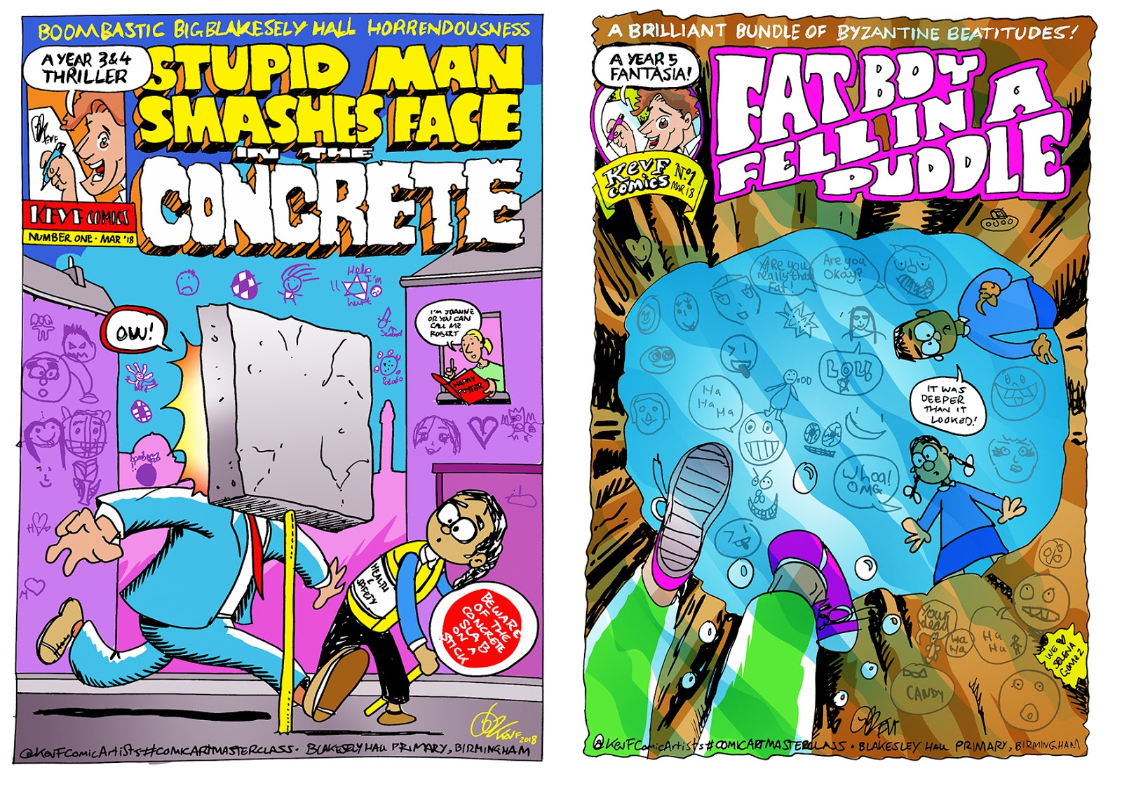 Kev F comic art: Stupid Man Smashes Face In The Concrete