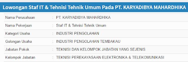 Lowongan kerja PT. KARYADIBYA MAHARDHIKA terbaru 2020 - Loker Pabrik Pasuruan