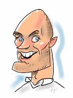 iPad karikatuur tekening van kale man