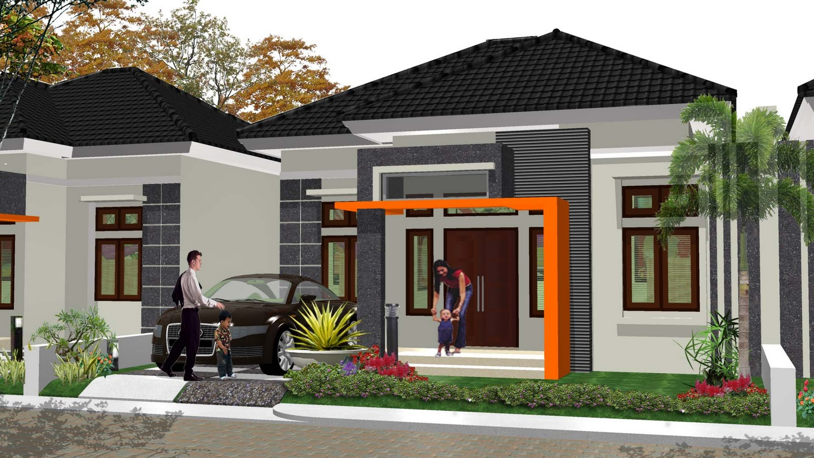 Rumah Minimalis Satu Lantai dengan Satu Garasi Mobil