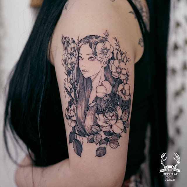 Beautiful girl and flower shoulder tattoos