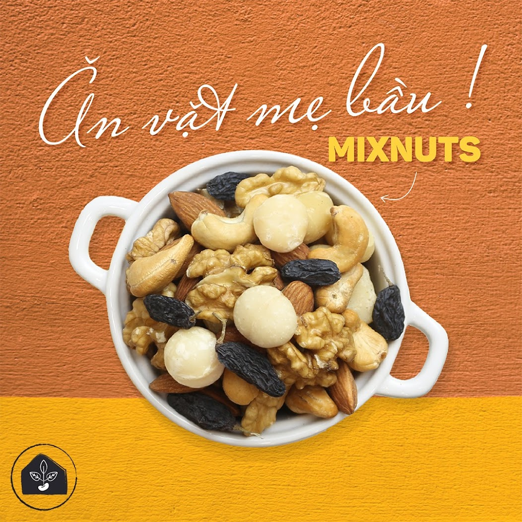 Mixnuts 5 loại hạt Mẹ Bầu tháng cuối nên ăn hàng ngày