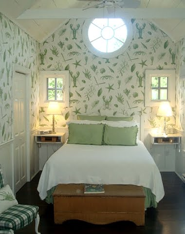 cottage bedroom with ocean wallpaper