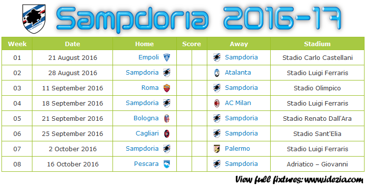Download Jadwal UC Sampdoria 2016-2017 File JPG - Download Kalender Lengkap Pertandingan UC Sampdoria 2016-2017 File JPG - Download UC Sampdoria Schedule Full Fixture File JPG - Schedule with Score Coloumn