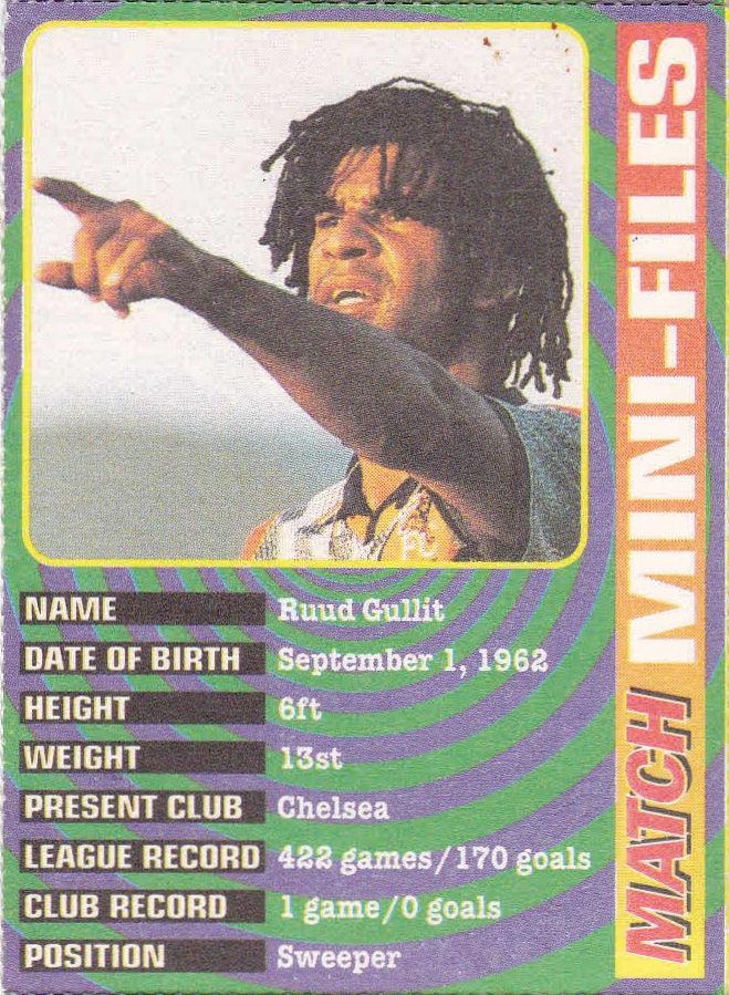 12 1995-96 Chelsea No Mini-Files Ruud Gullit Match Magazine