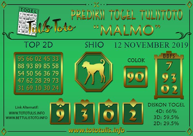 Prediksi Togel MALMO TULISTOTO 12 NOVEMBER 2019