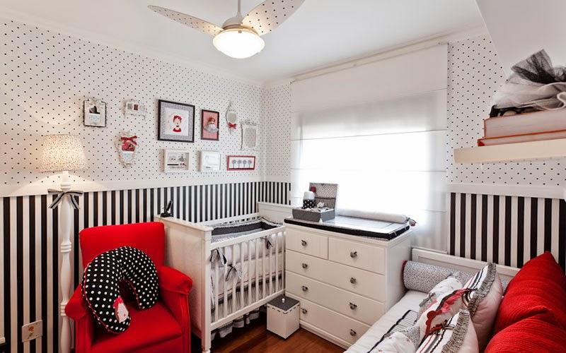 Dormitorios de beb en blanco rojo y negro ideas para decorar dormitorios - Papel pintado rojo y blanco ...