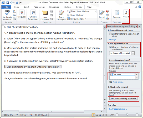 protect Word document by editing restriction