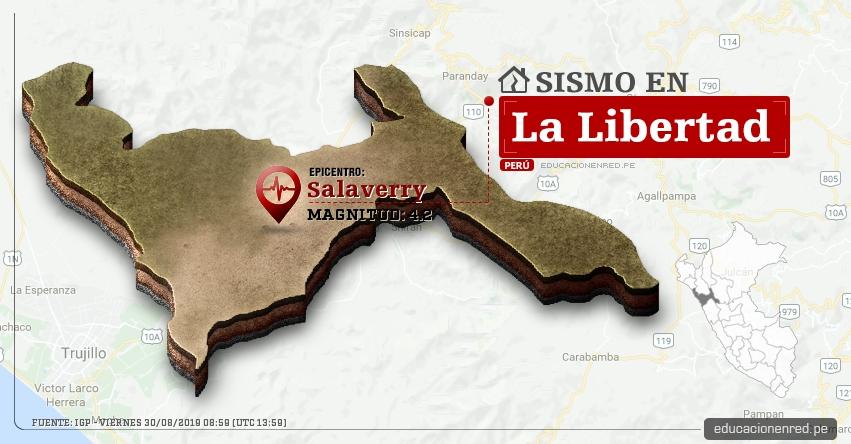 Temblor en La Libertad de Magnitud 4.2 (Hoy Viernes 30 Agosto 2019) Sismo - Epicentro - Salaverry - Trujillo - IGP - www.igp.gob.pe