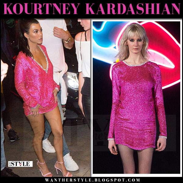 Kourtney Kardashian in bright pink sequin mini dress just cavalli what she wore may 24 2017 cannes