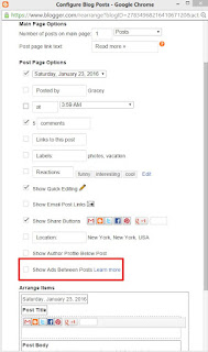 How to set up ads between posts on blogger.