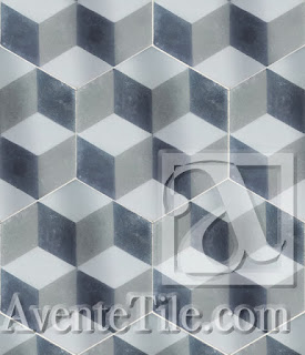 "Geometric Cube A 8"" Hexagon Cement Tile 