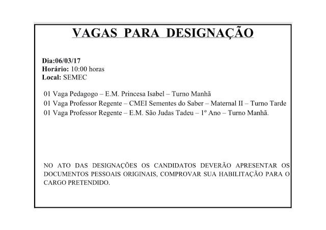Designação em Carmo do Cajuru - dia 06-03-17
