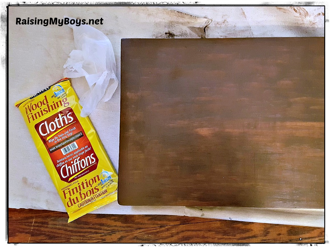 Applying Paint With Baby Wipes On Wood