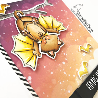 Hang in There Halloween Encouragement Card by Samantha Mann for Newton's Nook Designs, Distress Oxide Inks, Ink Blending, Stencil, Halloween, Bat, Vampire #newtonsnook #cards #cardmaking #distressoxide #inkblending #halloween #encouragement