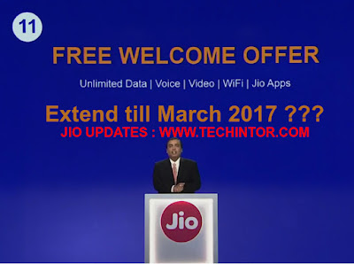 Jio Extends Jio Welcome Offer Till March 2017