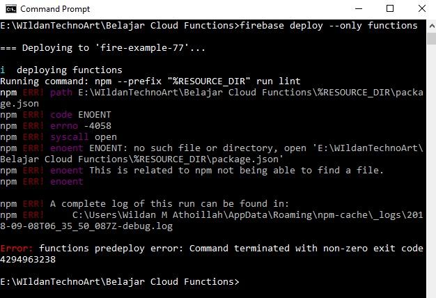 Screenshot deploy error