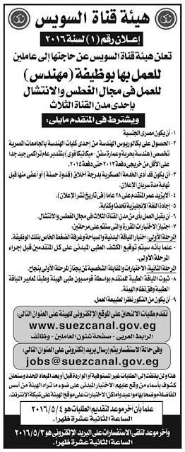 اعلان وظائف هيئة قناة السويس