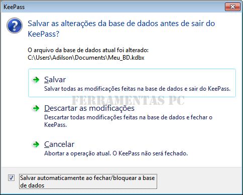 KeePass - Salvar dados