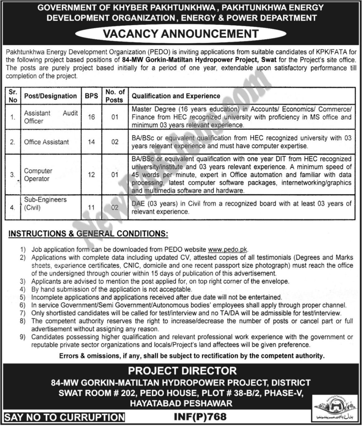 Today Announced Jobs in Energy and Power Department, Hydropower Project KPK 16 Feb 2018