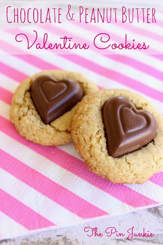 Chocolate & Peanut Butter Valentine Cookies