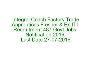 Integral Coach Factory Trade Apprentices Fresher & Ex-ITI Recruitment 487 Govt Jobs Notification 2016 Last Date 27-07-2016
