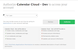 evernote oauth calendar cloud  accsess